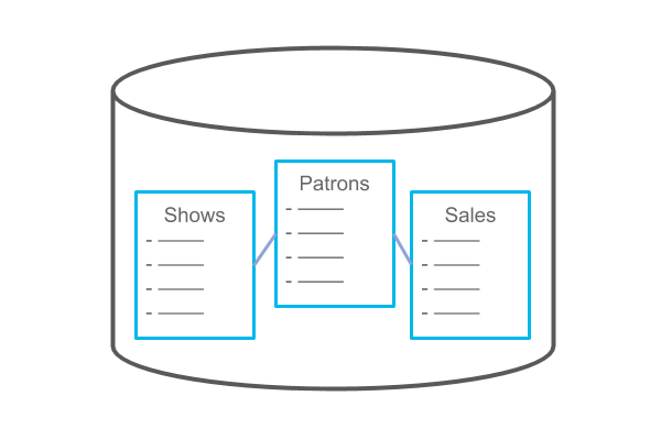 Relational database with tables for shows, patrons and sales.