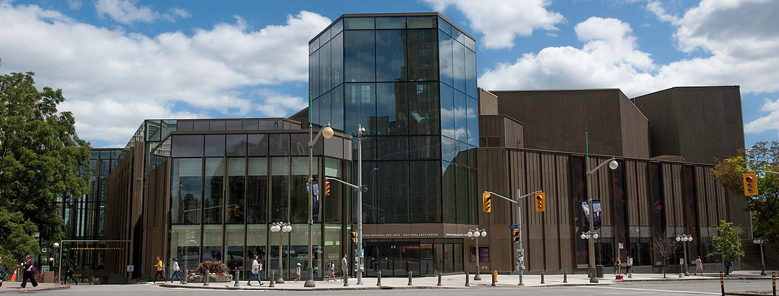 New entrance and facade of Canada's National Arts Centre in Ottawa, Ontario, Canada